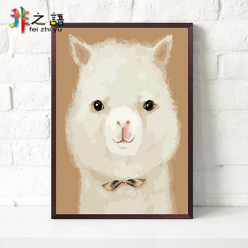 宠物 手绘儿童卡通动漫卧室装饰画手工填色画 数字油画 diy 非之语