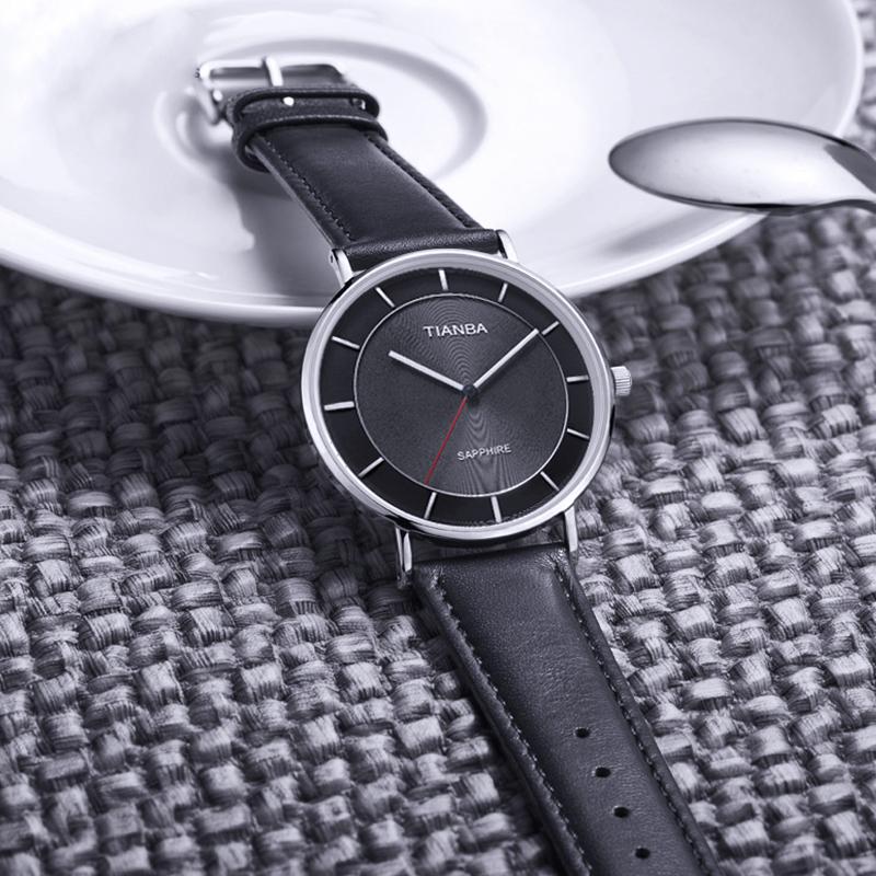 黑色 天霸光能太阳能手表男时尚超薄男表 9006 1