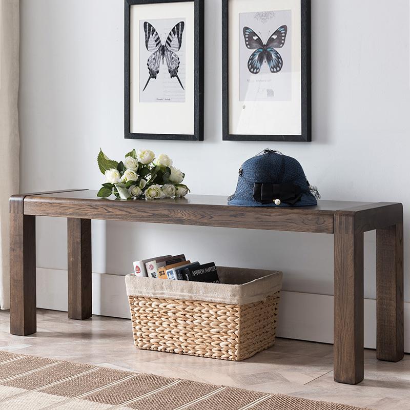 纯实木长条凳1.2米床尾凳 橡木条凳1.4米凳子北欧简约现代家具