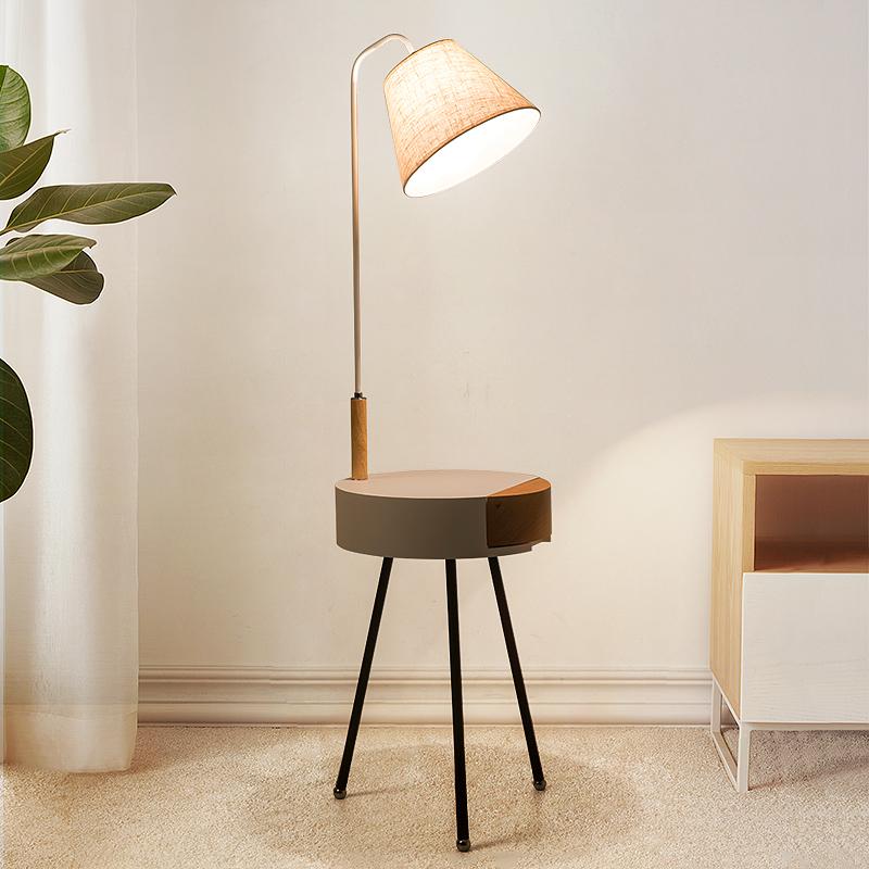 北欧卧室床头柜一体落地灯客厅茶几带置物架简约现代抽屉立式台灯