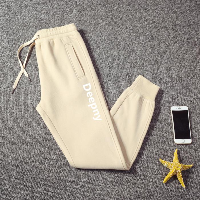2021新款白色裤子女夏季薄款印花宽松束脚运动裤纯棉加绒休闲卫裤