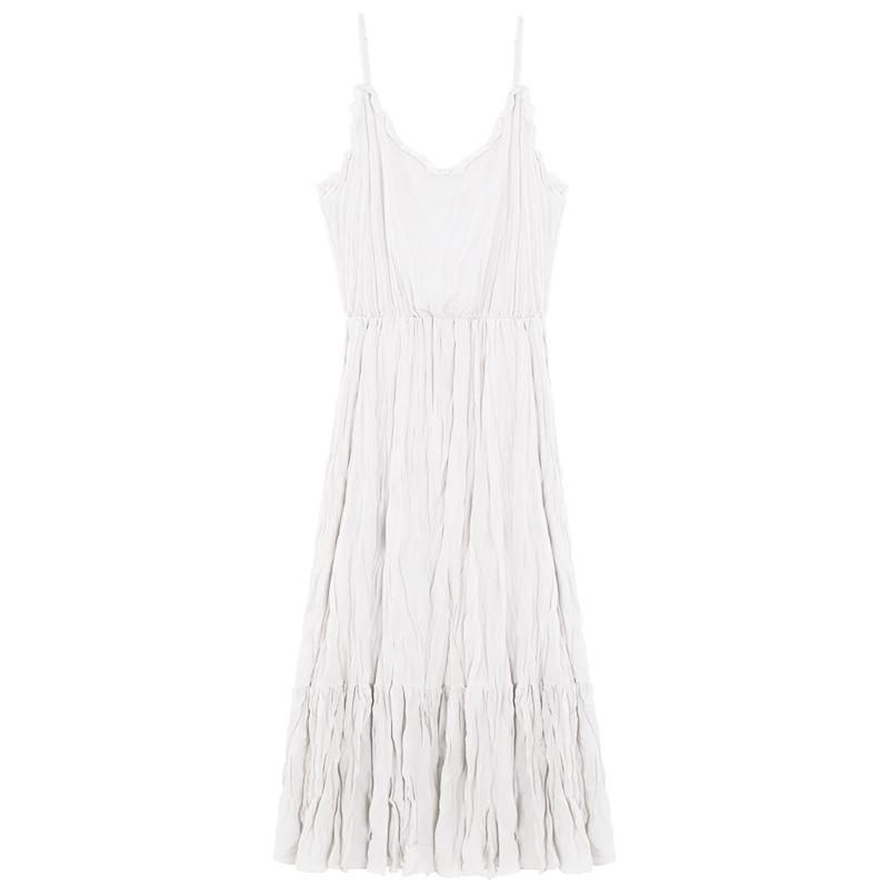 春夏2019款很仙的白色百褶吊带连衣裙仙女高腰荷叶边过膝中长裙子