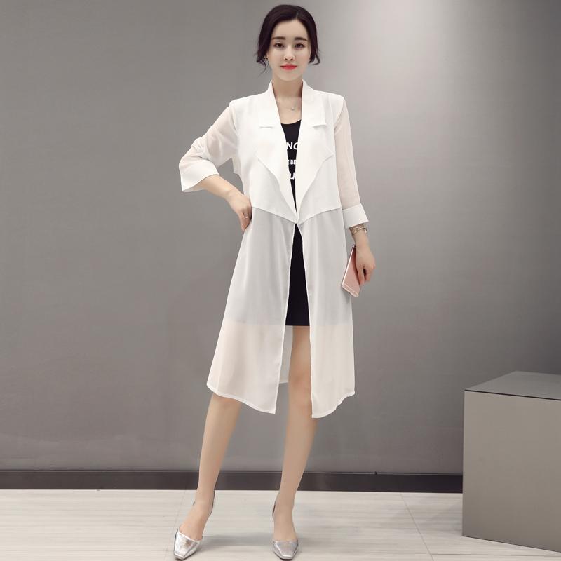 夏季雪纺防晒衣女中长款2017气质薄款披肩风衣式空调开衫百搭外套