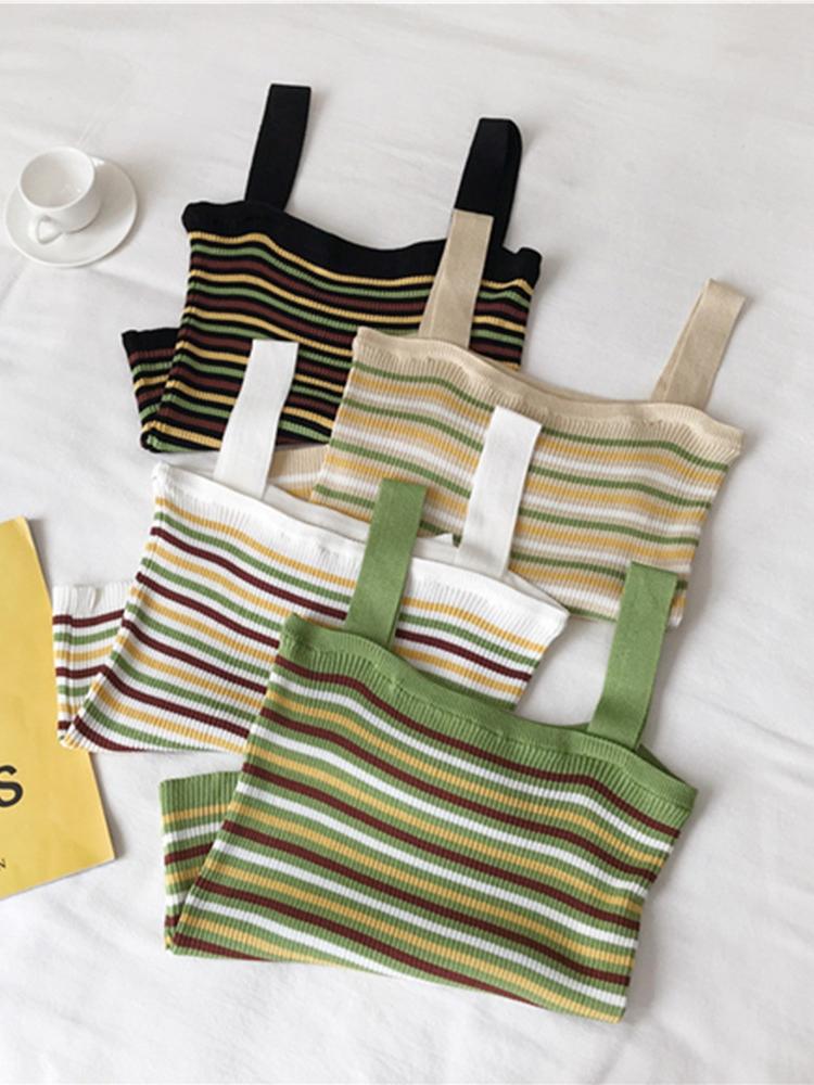 夏天韓版復古條紋針織衫性感吊帶小背心女裝打底衫內搭上衣外穿潮