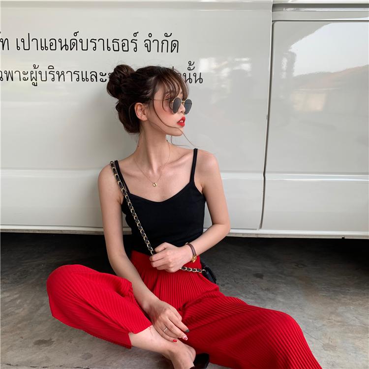 夏季 新款韩版无袖内搭黑色短款打底上衣泫雅小吊带背心女外穿  2019