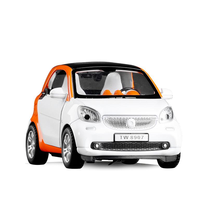 新品包邮SMART FORTWO精灵轿车合金车模1:24声光回力儿童汽车模型