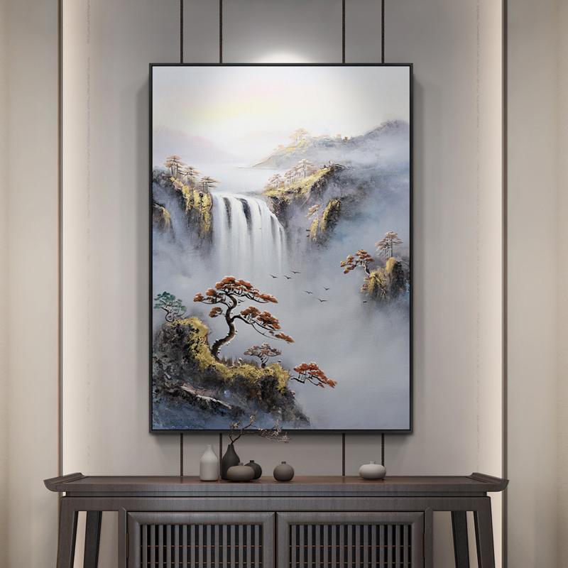 手繪新中式三聯抽象山水油畫客廳沙發背景墻裝飾畫迎客松風景掛畫