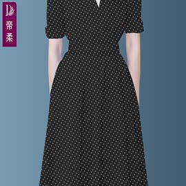 波点白底黑点连衣裙女2019夏装新款长款中年高端时尚高贵品质女装