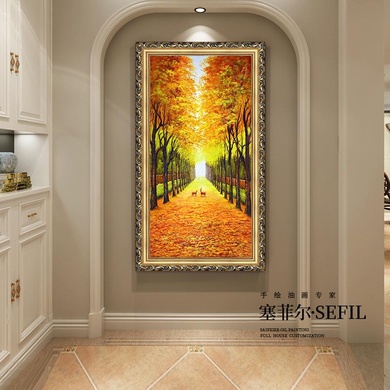 手繪油畫玄關裝飾畫美式風景豎版歐式走廊掛畫客廳壁畫黃金大道