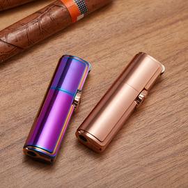 zobo正牌充气打火机三头创意个性潮防风金属砂轮三孔直冲金属雪茄