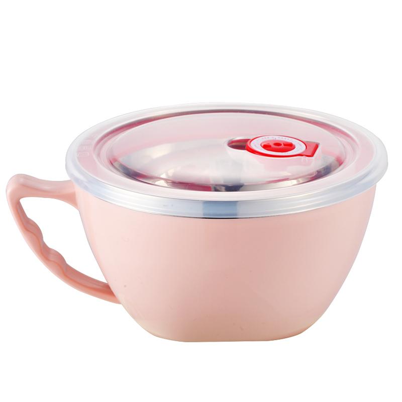 304不锈钢泡面碗 带盖饭碗学生碗女家用宿舍碗泡面杯碗筷餐具套装