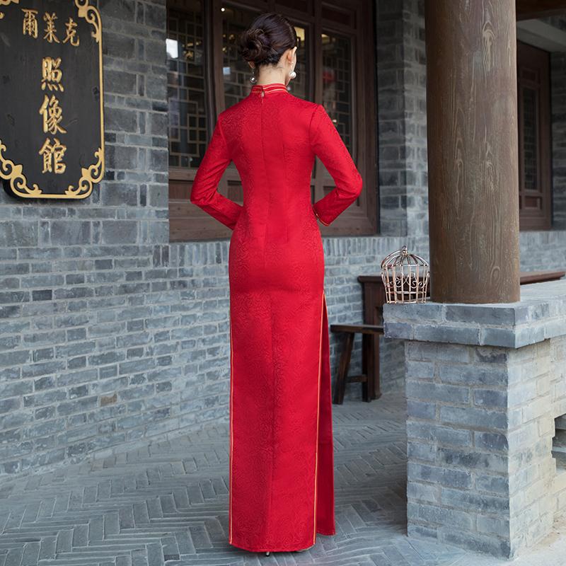 酒店迎宾服装女礼仪小姐旗袍颁奖长款红色加棉加厚保暖长袖中国风