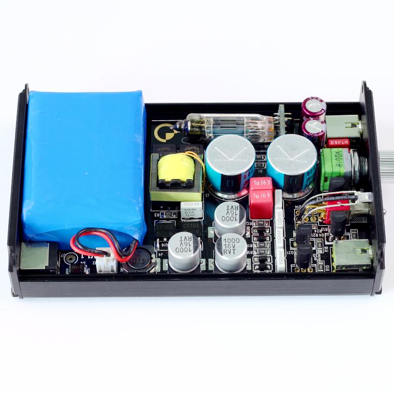 包邮HIFI发烧电子管便携胆耳放内置电池胆前级耳机放大铝合金机箱