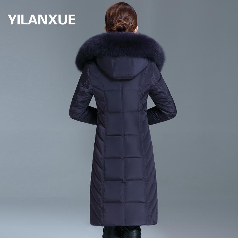 中老年羽绒服女中长款大毛领大码加厚过膝修身带帽中年女士外套