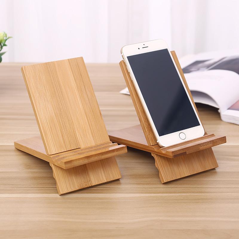 手機桌面支架摺疊便攜萬能可愛卡通實木楠竹多功能直播簡約手機架
