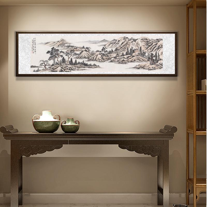 国画山水画横幅办公室客厅挂画仿古画传统写意画水墨画