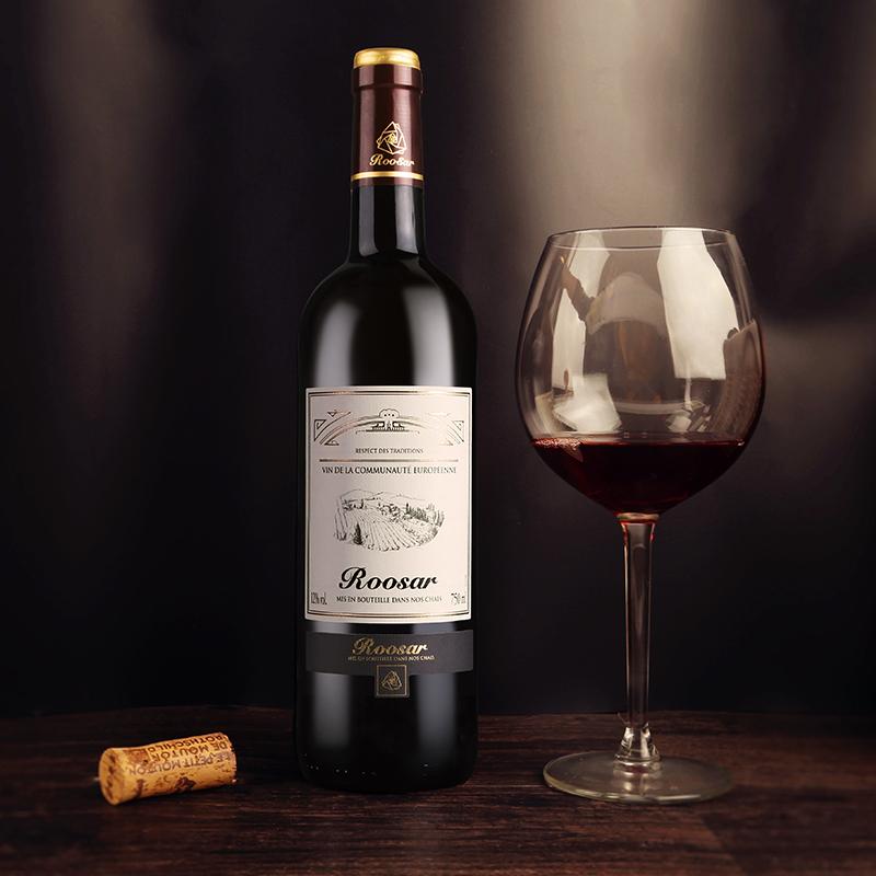 【送酒具4件套】法国红酒原瓶进口罗莎田园干红葡萄酒2支装