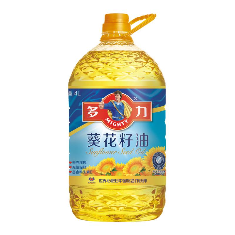 多力葵花籽食用油 4L 进口葵籽去壳压榨 新老包装交替