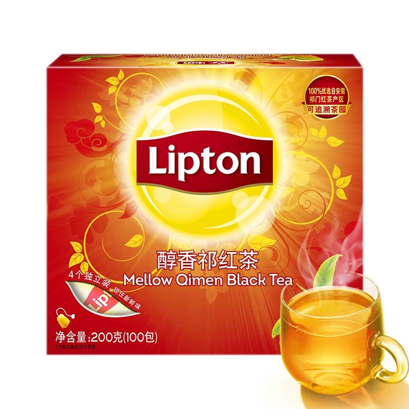 盒 200g 袋泡茶包茶叶 立顿醇香祁门红茶 Lipton