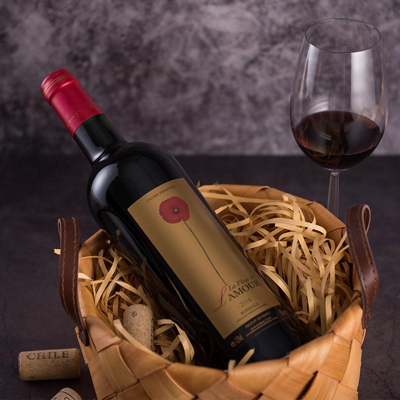 【浪漫之花】进口葡萄酒金标波尔多AOC级干红葡萄酒1支750ml