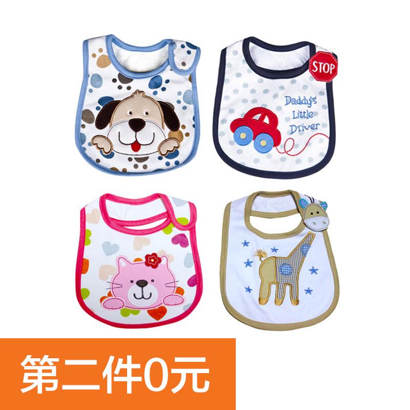 贝吻新生婴幼儿童三层纯棉防水卡通可爱围嘴口水巾