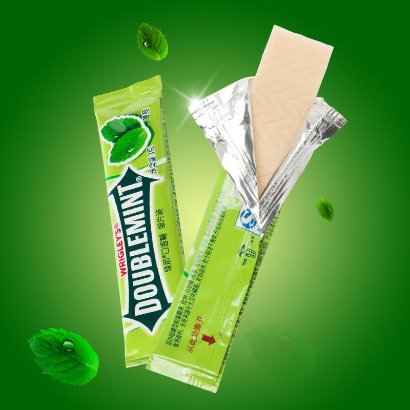 绿箭无糖薄荷糖口香糖100片袋装条装原味薄荷零食散装300g