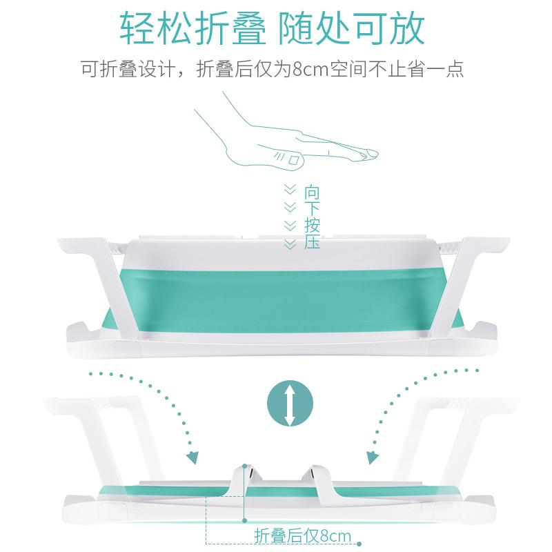 小孩儿童初生婴儿洗澡盆浴盆宝宝可折叠新生幼儿大号多功能加厚式高清大图