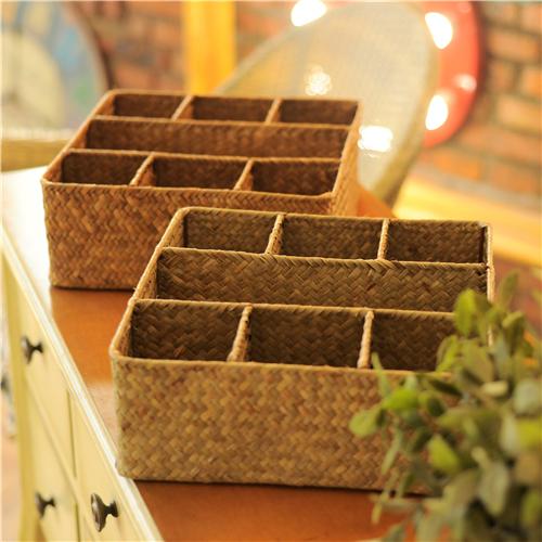 【尚尙】海草編 純手工收納筐 收納籃 桌面雜物收納盒 小物收納盒