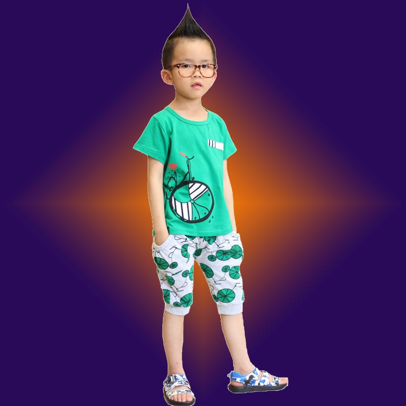 巴拉巴拉雁童装男童2019夏装自行车儿童运动短袖套装宝宝两件套潮
