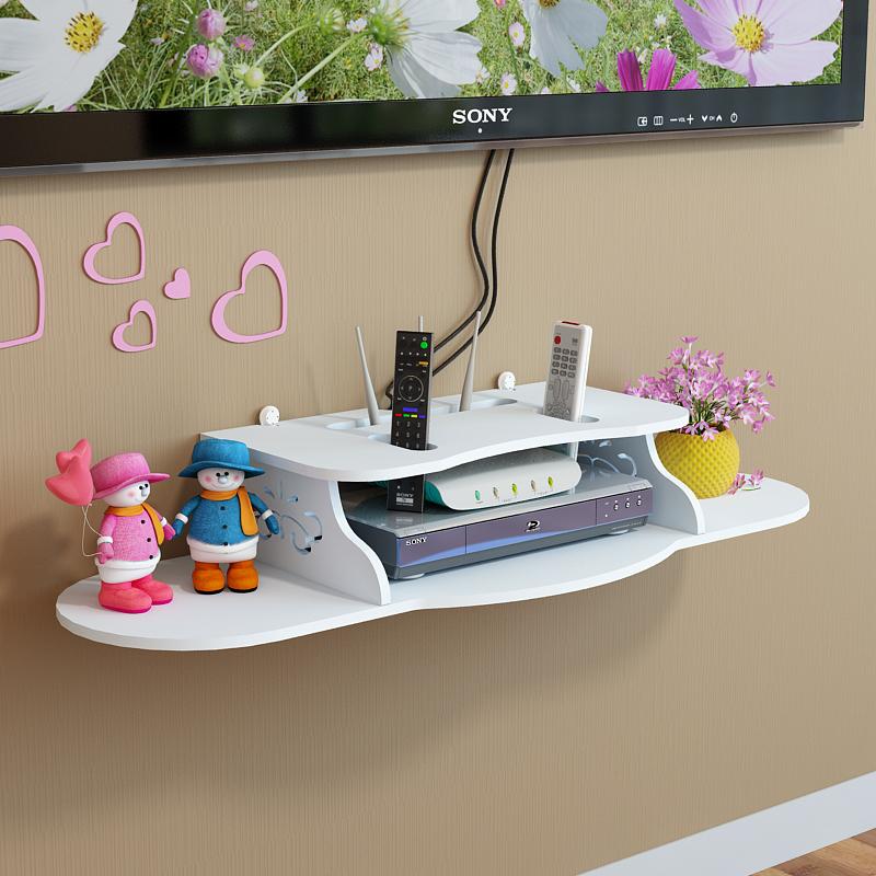 电视机顶盒架免打孔置物架客厅电视墙装饰卧室墙上壁挂路由器隔板