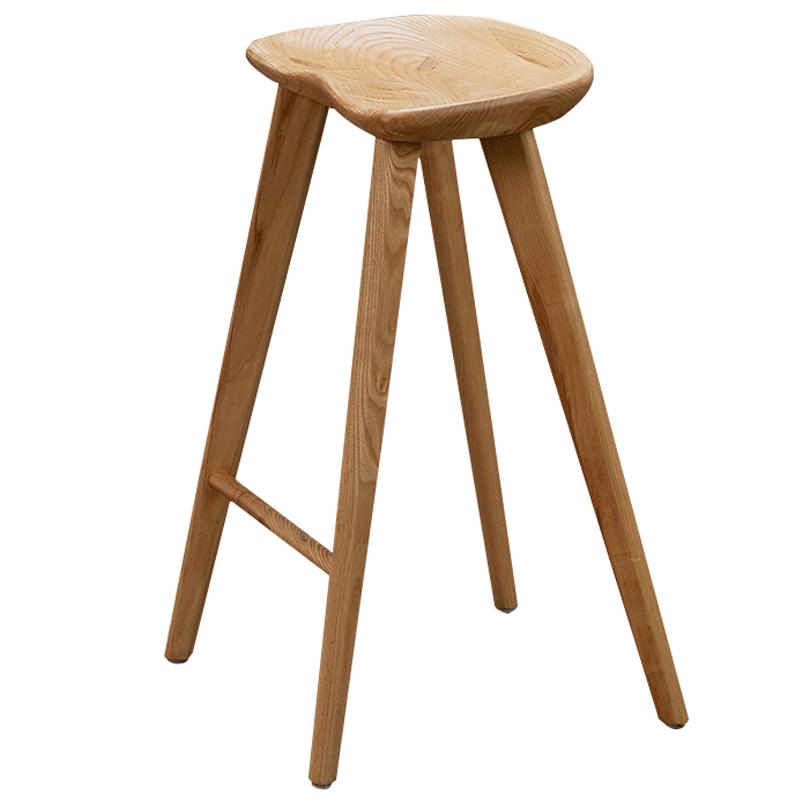 霍客森简约水曲柳实木吧椅现代酒吧四角美式凳子推荐原木人体工学