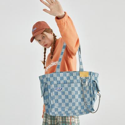 【2021新品】萝拉 少女棋盘格大单肩包 链条大容量帆布包包女ins