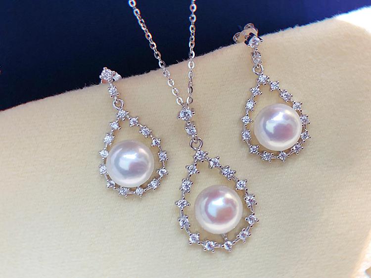 耳环 akoya 强光媲美 纯银 925 吊坠耳钉耳坠 天然淡水珍珠首饰套装