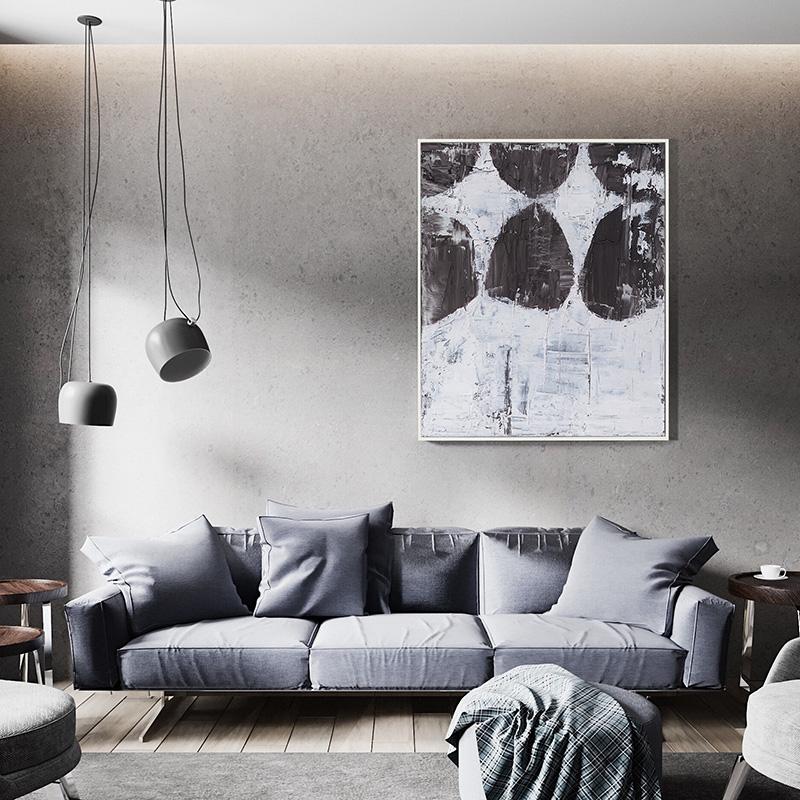 藝象工業風裝飾畫北歐原創抽象畫現代簡約餐桌客廳油畫純手繪掛畫