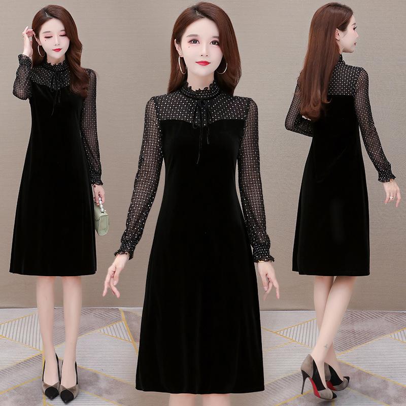 新款收腰气质韩国绒裙