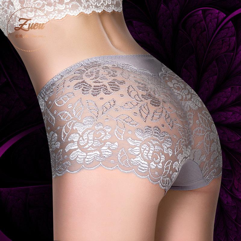 4条装性感透明蕾丝 无痕大码春夏裤头中腰三角女士内裤女本命年红
