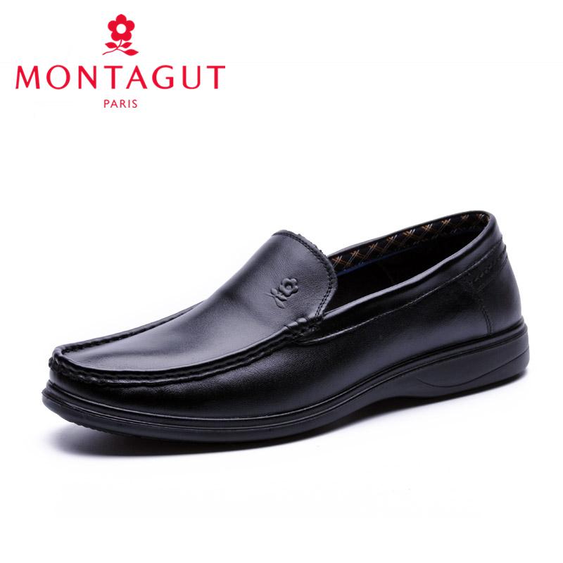 父亲皮鞋中老年皮鞋爸爸男鞋商务休闲皮鞋真皮套脚休闲梦特娇男鞋