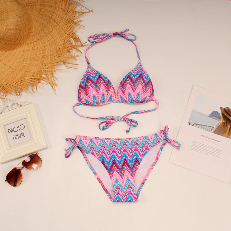 美國單~波西米亞渲染波浪紋三角杯性感大小胸比基尼女溫泉泳衣