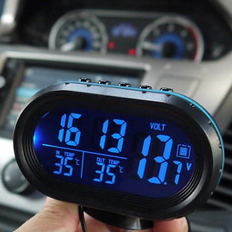 包邮 新款汽车电子钟 车用温度计电压计  车载多功能时钟表 夜光