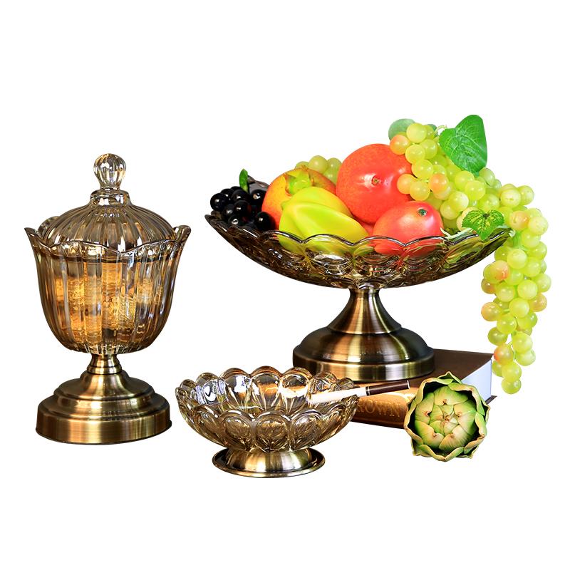 欧式客厅茶几摆件三件套玻璃水果盘家用现代轻奢餐桌装饰果盆套装