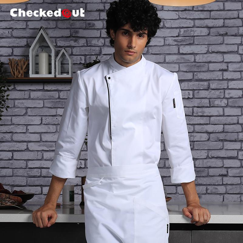厨师工作服男短袖后厨房衣服定制烘焙西餐厅餐饮厨师服长袖秋冬装