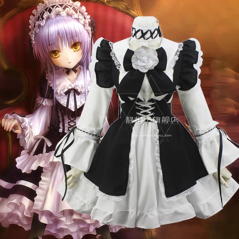 黑白色长袖lolita哥特风女仆装cosplay服装cos洋装女装大佬连衣裙