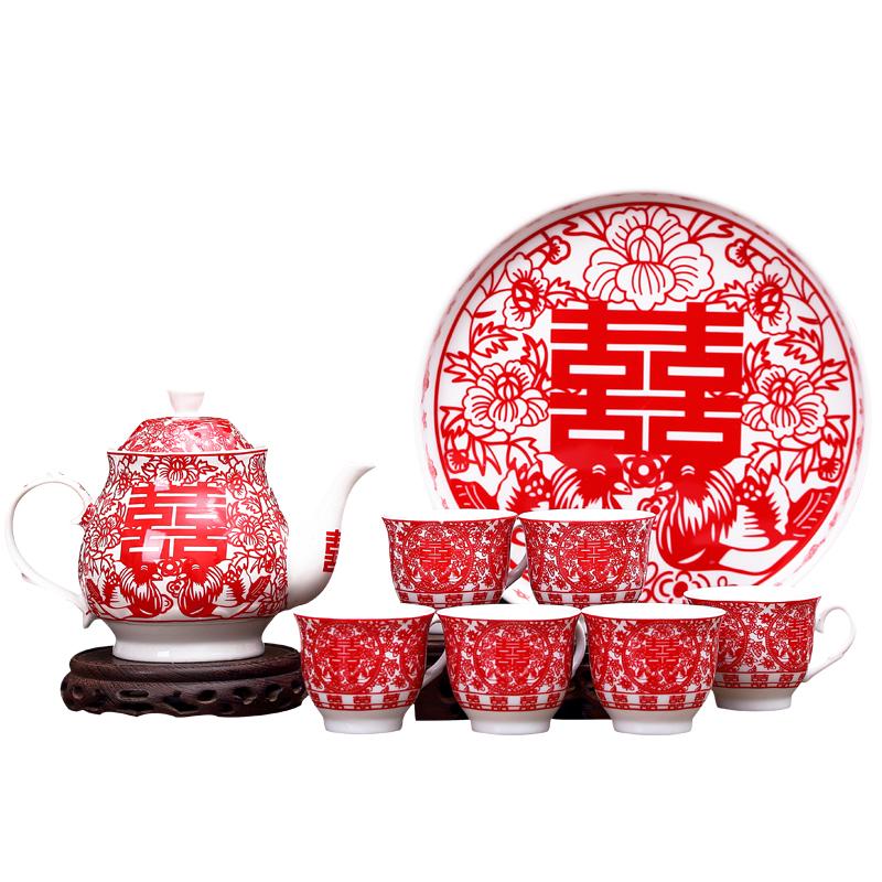 改口敬茶杯結婚茶具壺杯套裝新婚結果禮物創意實用品紅色茶壺婚慶