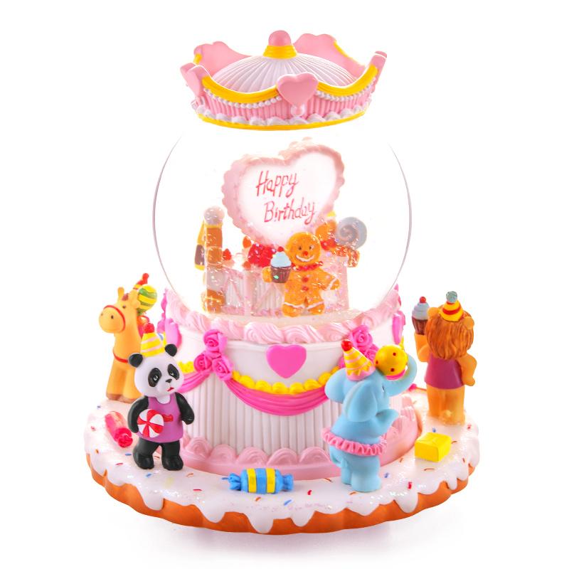 奶油蛋糕音乐盒水晶球八音盒创意生日礼物女生女孩六一儿童节礼物