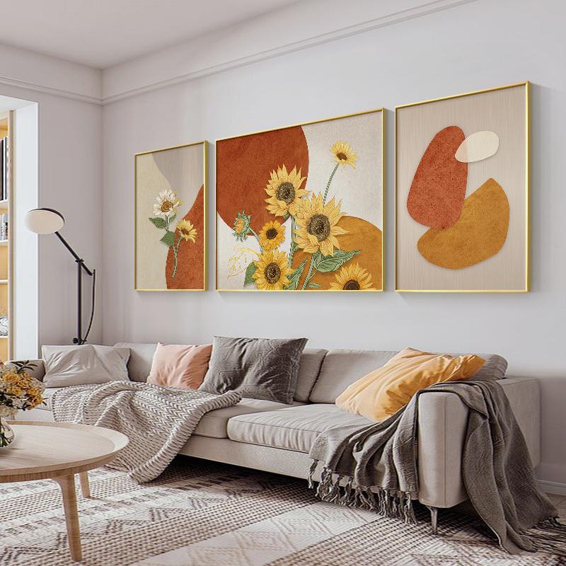 客厅装饰画北欧风格梵高向日葵大气三联画现代简约沙发背景墙挂画