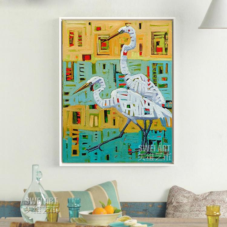 純手繪油畫北歐風格玄關裝飾畫現代簡約創意壁畫餐廳過道動物掛畫
