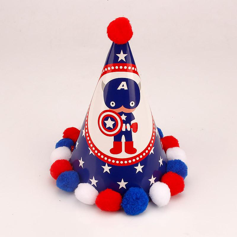 生日帽子 儿童 宝宝1周岁 公主 成人 派对 尖角帽 毛球帽 生日帽