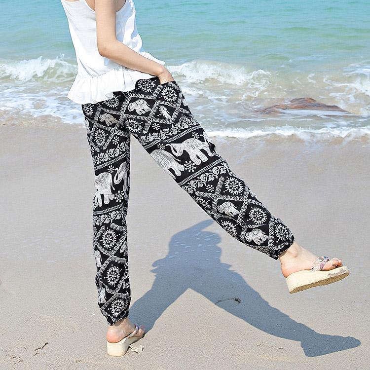 泰国民族风瑜伽灯笼裤子女夏季宽松休闲九分沙滩长裤阔腿大象花裤