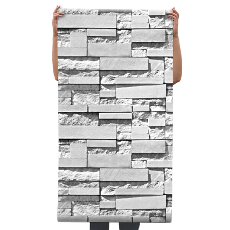 立体砖头大理石纹复古怀旧砖块服装美发理发店壁纸 3d 砖纹墙纸发廊
