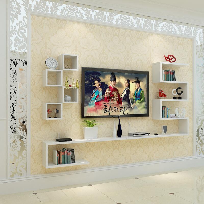包邮电视柜壁挂组合现代中式客厅背景墙柜装饰架简易挂柜挂墙吊柜